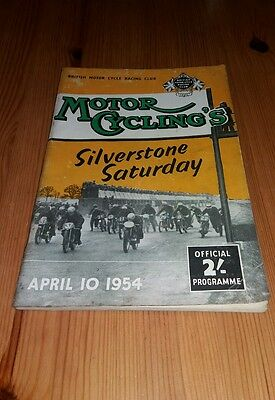 Motor Cycling Silverstone Saturday -  April 10th 1954 motorcycle programme