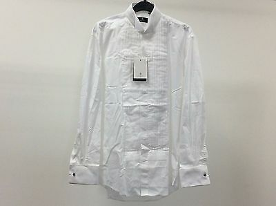 Mens White Wing Pleated Tuxedo Dinner Dress Shirt Size 14 1/2 - 3A213