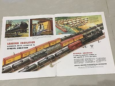 Large A3 Double Page GENERAL AMERICAN Train Advert USA 1948