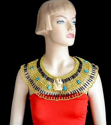 Egyptian Cleopatra Beaded Collar Necklace King Tut Halloween Costume Burning Man