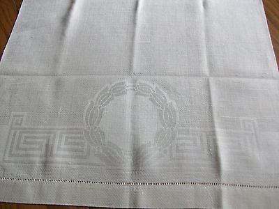 "Vintage 32"" Linen Damask Towel ~ Greek Key ~ Monogram Crest ~ Hemstitch Edges"