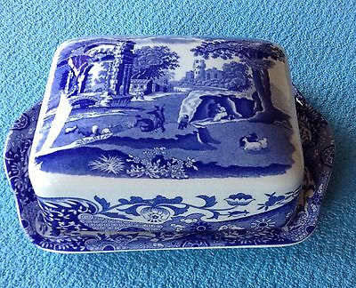 Spode Blue Italian Butter Dish With Lid