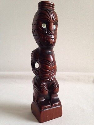 Quality Hand Carved Wooden Tiki Doll Inset With Abalone Shell Eyes-Superb Patina