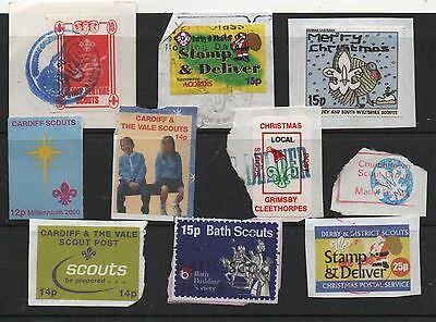 10 SCOUT ISSUED STAMPS CARDIFF SALISBURY BATH DERBY GRIMSBY etc