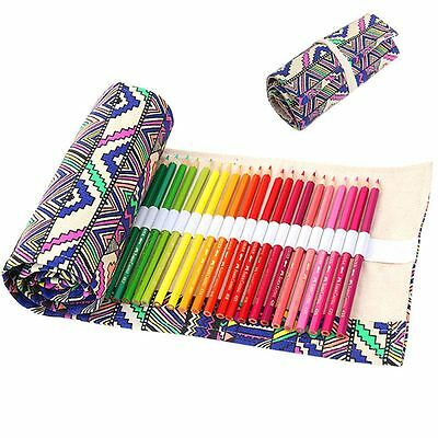 Ball Pen Box Canvas Pen Roll Up Bag Curtain Stationery 36 Holes Pencil Case