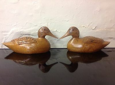 Pair of Carved Wooden Flat Back Ducks Glass Eyes