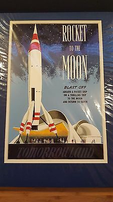 NOS Disneyland Attraction Poster 18x14 Matted ROCKET TO THE MOON TOMORROWLAND