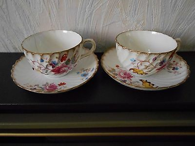 Dresden Spray - two vintage cups and saucers