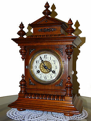 BEAUTIFUL GERMANY MANTEL WITH BRONZE ORNAMENTS SIGNED JUNGHANS CLOCK cca1880