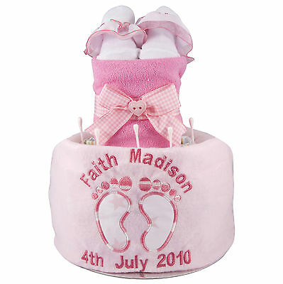 personalised baby feet boy girl nappy cake name & date of birth gift present