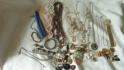Job Lot Spare Repairs Craft Vintage Jewellery Necklaces Brooches Earrings Etc