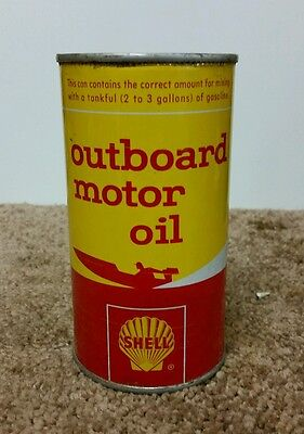 Vintage Shell Outboard Motor Oil Can 12 Oz
