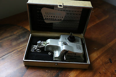 Vintage White Automatic Decorator Sewing Machine Attachment with case