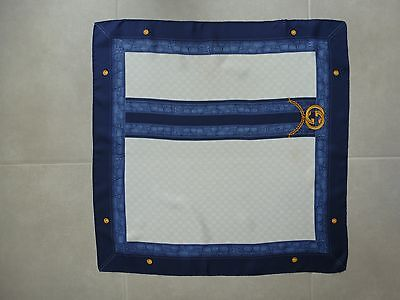 Authentic Gucci Silk Scarf - Gg - Made In Italy - Blue / Gold
