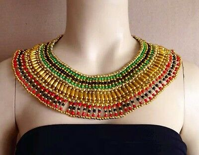 Egyptian Queen Cleopatra Beaded Collar Necklace Shipped from the U.S. Great Deal