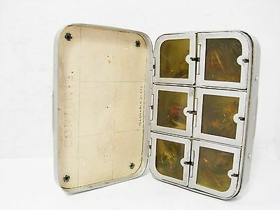 Vintage Early Wheatley 6 x Compartment Slate x Pocket Fly Box & 42 x Trout Flies