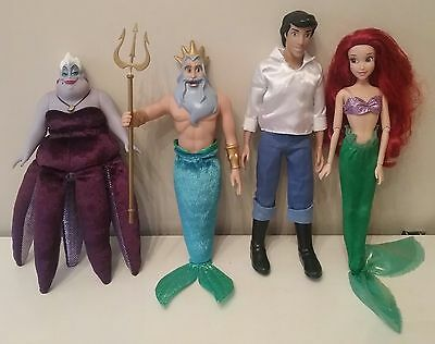 The Disney Store Ursula Triton Ariel And Eric Dolls The Little Mermaid