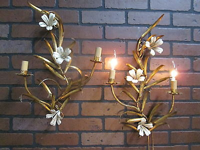 """Vintage Antique Pair Italian Tole Lily  Gold Gilt Wall Sconce Lights  21"""" x 13"""""""