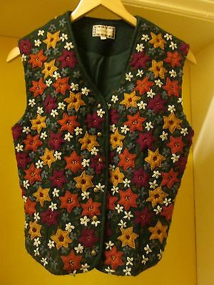 Fabulous Vintage Floral Crewelwork Embroidered Monsoon Wool Waistcoat Med Sz 12
