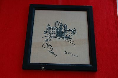 Vintage Embroidered Framed Picture of Glamis Castle, Angus, Scotland