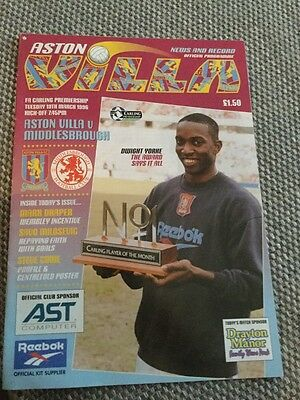 Match Programme Aston Villa V Middlesbrough Mar 1996