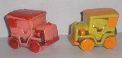 Vintage Ceramic Old Fashioned Red & Yellow Ford Salt & Pepper Shakers VHTF!!  #1