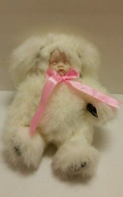 WonderTreat Doll White Bunny Plush Body Porcelain Baby Face Jointed Body