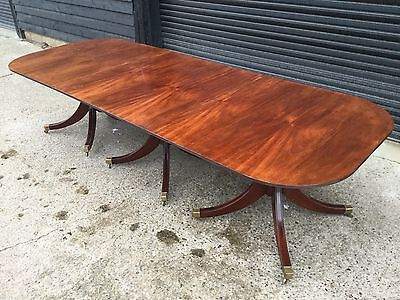 10.7ft TRIPLE PEDESTAL GEORGE III STYLE CUBAN MAHOGANY TABLE PRO FRENCH POLISHED
