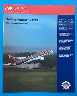 Northwest Airlines Safety Card--757-200