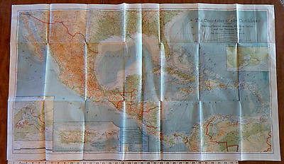 Vintage 1922 COUNTRIES OF THE CARIBBEAN MAP National Geographic Mexico Panama