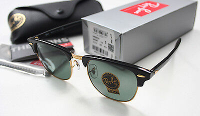 Ray Ban Clubmaster RB3016 W0365 Sunglasses Black Gold Frame 51mm