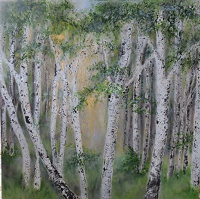 Original Art,modern contemporary Painting,canvas, Silver Birch ,abstract