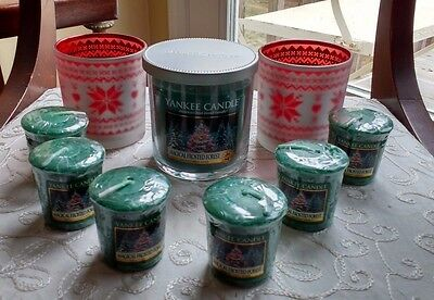 YaNKEE CaNDLE MaGICAL FrOSTED FoREST VoTIVES + TuMBLER + NoRDIC HoLDERS SeT NEW!