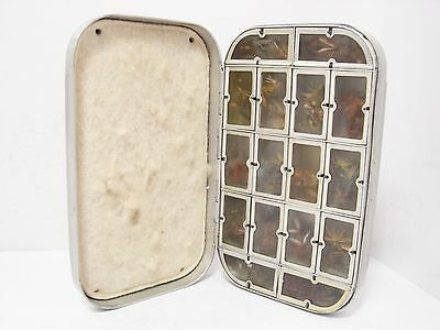 Vintage Wheatley 16 x Compartment Fly Box & 132 x Trout Dry Flies