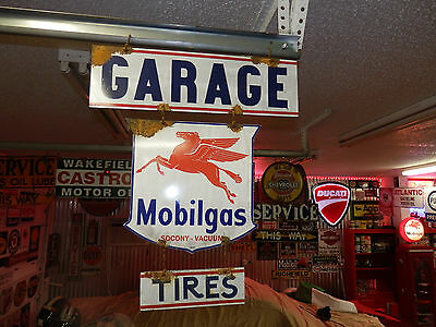Old antique style Mobilgas oil service station 3 piece pump sign dealer look