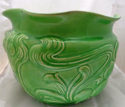 Antique Arts and Crafts Art Nouveau Large Green Majolica Jardiniere Planter 1904