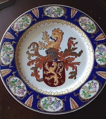 Antique Rare Hand Painted Porcelain Charger With Blue Tongue Symbol Crest Flag