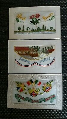 Ww1 Era Embroidered Silk Postcards 3 Different Captions 3 Rare Designs Very/good