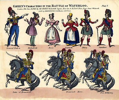 Original Toy Theatre Sheet - Green's Battle of Waterloo Characters 7 - Coloured
