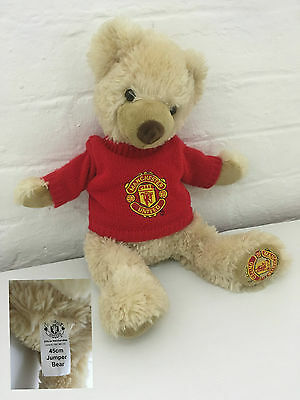 "Manchester United Teddy Jumper Bear  MUFC MUTD Crest Official 45cm 18"" inch Rare"