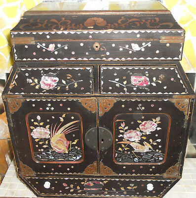 Antique Chinese 19th century Wooden lacquered jewellery cabinet 45% off