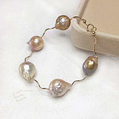 Kasumi Pearls&Gold Filled Accent Bangle,15-20MM Baroque Pearl Statement Bracelet