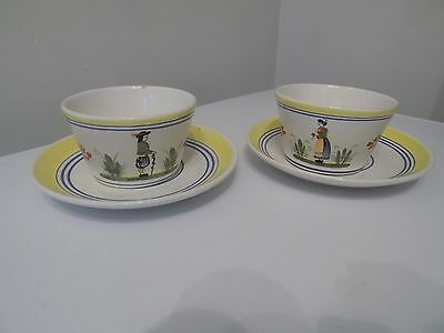 "A Pair Of Lady & Man "" Quimper "" Grande Tasse Coffee Cups & Saucers."
