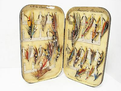 Vintage Antique Malloch Japanned 40 x Clip Fly Box & 21 x Salmon Flies