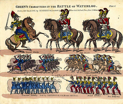 Original Toy Theatre Sheet - Green's Battle of Waterloo Characters 6 - Coloured