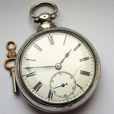 1864 Silver Pair Cased Fusee Pocket Watch In Full Working Order