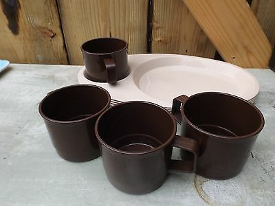 vintage/retro CAMPUS ANTIFERENCE cups/plates plastic tray x 4. Picnic Camping