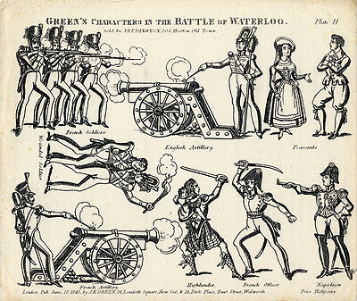 Original Toy Theatre Sheet - Green's Battle of Waterloo Characters 11 - Plain