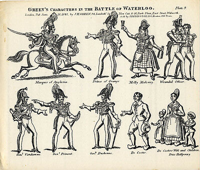 Original Toy Theatre Sheet - Green's Battle of Waterloo Characters 9 - Plain