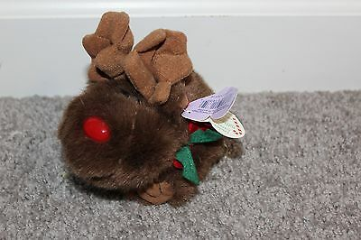 """Swibco Puffkins Plush 5"""" tall Moosletoe Reindeer Tag Excellent 1994 Toy Plush"""